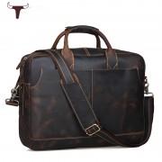 歐美熱銷瘋馬皮大容量男士公文包手提包16寸電腦包真皮男潮包0012