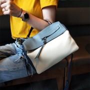 簡約斜挎包包女2020新款氣質春夏百搭流行撞色真皮女包手提包大氣