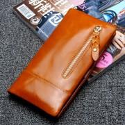 復古油蠟皮防磁RFID女士跨境批發多卡位錢夾女式真皮錢包
