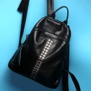 夏季熱賣新款鉚釘雙肩包女包頭層牛皮女式包休閑旅行包女士包