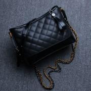新款女包雙鏈條菱格小香風斜挎包時尚同款包包拼色流浪包
