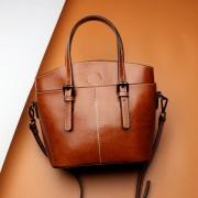 新品批發潮酷時尚女包女牛皮包包大容量手提包