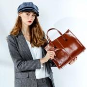 歐美大包新款時尚大氣簡約女士單肩斜跨包女包油蠟手提包