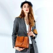頭層牛皮包包時尚復古水桶包新款單肩斜挎手提包女包