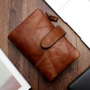 男士錢包短款手拿包時尚零錢包RFID牛皮雙拉鏈錢夾