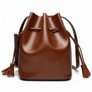 春夏新品韓版水桶包女包大容量牛皮簡約撞色單肩斜挎女士包包