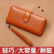 新款女士手拿錢包 時尚純色搭扣多卡位超大容量拉鏈錢包女
