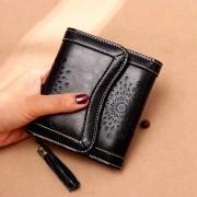 熱賣手拿包現貨新款錢包女時尚鏤空三折女士短款錢包