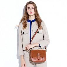 新款磨砂牛皮拼接馬鞍包歐美風格大包女式單肩斜跨包女包
