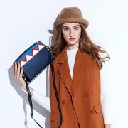 新款歐美拼色女包波浪紋斜挎小包女寬肩帶小方包
