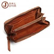真皮長款錢包 復古時尚植鞣皮編織拉鏈手拿包手抓包 銀包
