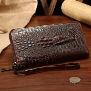 新款鱷魚紋錢包批發 拉鏈豎款男士手拿包 頭層牛皮潮包