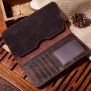 廠家直銷復古手工男士錢包手機包 休閑長款頭層牛皮真皮男包批發