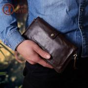 新款復古真皮錢包 拉鏈長款大容量男士手包 休閑牛皮男包手抓包