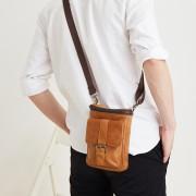 新款真皮男包 多功能穿皮帶手機腰包 復古時尚戶外運動小包斜挎包