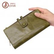 復古時尚真皮女士錢包頭層牛皮手拿包零錢包雙拉鏈長款錢包批發
