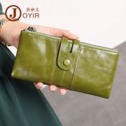 工廠貨源真皮女士錢包復古時尚長款手拿包牛皮防磁零錢包女包
