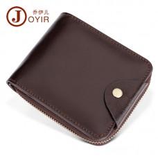 商務時尚真皮男士錢包頭層牛皮多卡位拉鏈短款手拿包零錢包批發