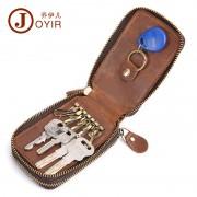 工廠貨源休閑復古真皮鑰匙包雙拉鏈大容量腰掛汽車鑰匙包牛皮包包