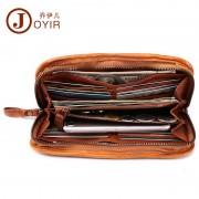新款復古商務真皮男士錢包長款拉鏈多卡位手拿包植鞣皮長款錢包