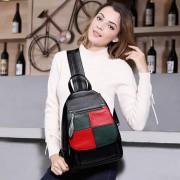 雙肩包女韓版潮新款 撞色包包明星同款戶外旅行背包 真皮女包