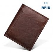 RFID防磁新款真皮男士錢包 頭層牛皮復古手包零錢包錢夾批發