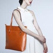 時尚真皮女包單肩牛皮批發購物袋手提真皮包簡單實用女士大包