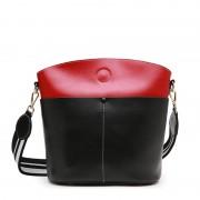 新款女包水桶包真皮女包大容量牛皮簡約撞色單肩斜跨潮流女包