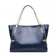 新品真皮女包歐美時尚女士單肩包鱷魚紋牛皮手提包簡約媽咪包