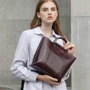 歐美大包新款時尚大氣簡約女士單肩斜跨包真皮女包油蠟手提包