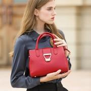 新品真皮女包手提包女歐美時尚百搭斜跨女士包頭層牛皮鎖扣包