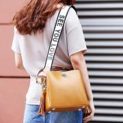 包包女新款歐美風流蘇水桶包女真皮女包斜挎單肩包女士包包女