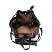 新款韓版時尚真皮菱格紋拉繩水桶雙肩流浪包女式背包