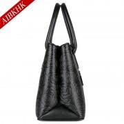 S9195歐美風大花真皮手提包時尚雙層女包媽媽包單肩潮包