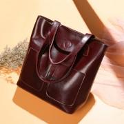 外貿牛皮批發女包春夏新款歐美時尚油蠟牛皮大包單肩手提包包