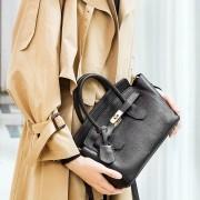 歐美新款真皮女包頭層牛皮時尚荔枝紋鉑金包女士手提包單肩包