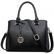 S9203歐美真皮女包時尚鱷魚紋手提包中年媽媽包斜挎包