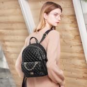 新款韓版真皮小香風菱格雙肩包休閒潮女旅行包街頭時尚小背包