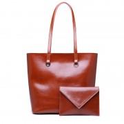 新款真皮女包歐美時尚油蠟牛皮單肩大容量水桶包女式手提子母包