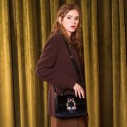 牛皮時尚手提包新款鑲鑽百搭凱莉包真皮女包帶單肩斜挎小包