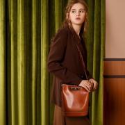 新款歐美範百搭時尚女包油蠟牛皮水桶包手提單肩斜挎女士包