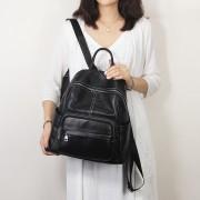 工廠頭層牛皮雙肩背包新款歐美時尚旅行背包大容量簡約女包