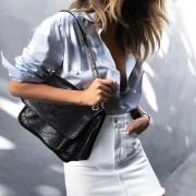 鏈條包女新款小香風niki包真皮復古郵差包大容量單肩斜挎女包
