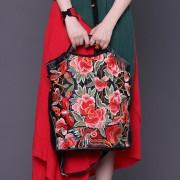 雲南繡花包新款大容量手提女包 刺繡女士真皮斜跨包包