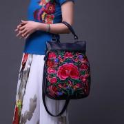 新款民族繡花花開富貴真皮刺繡女包手提斜跨包爆款潮流