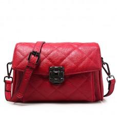 潮菱格歐美時尚真皮女包牛皮單肩包斜挎女包小方包包