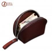 新款復古時尚真皮零錢包 頭層植鞣皮貝殼型硬幣包袋 小錢包廠家批