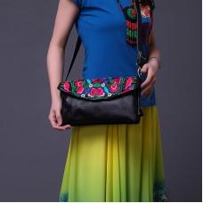 女包包新款民族風斜挎包女士刺繡真皮單肩包小方包多隔層包包