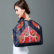 新款民族風原創手拎手提包牛皮女包真皮繡花文件包