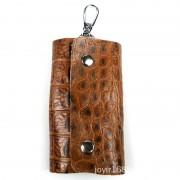 新款復古真皮鑰匙扣 全頭層壓花真皮男士時尚鑰匙包批發